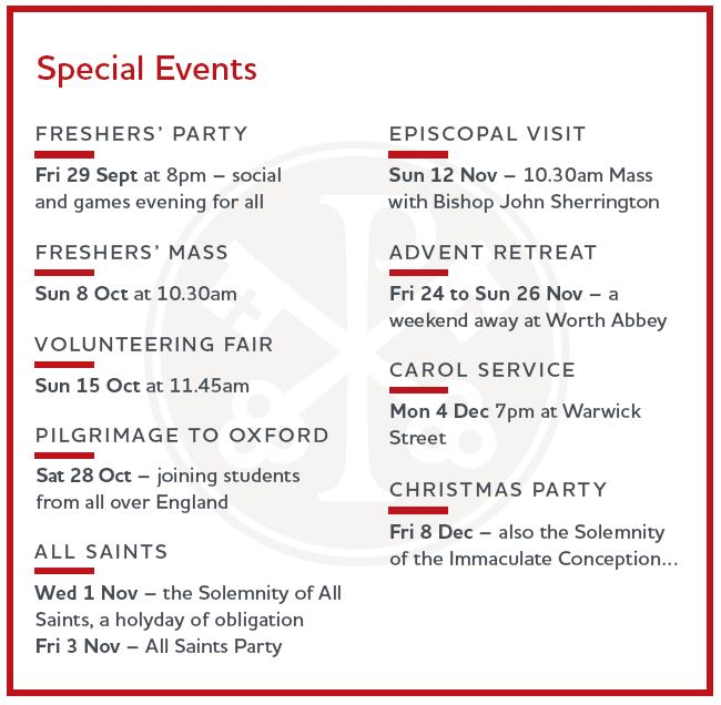 First Semester Special Events \u2013 Catholic Chaplaincy to the - london universities list