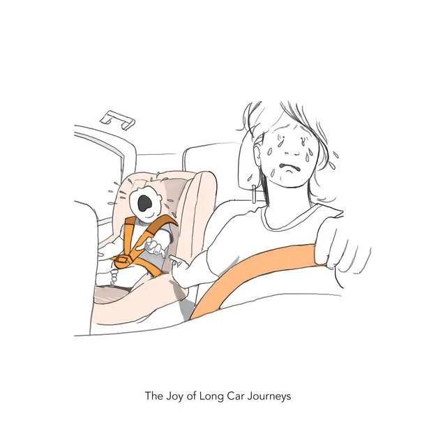 mamma al volante con figlio vignetta
