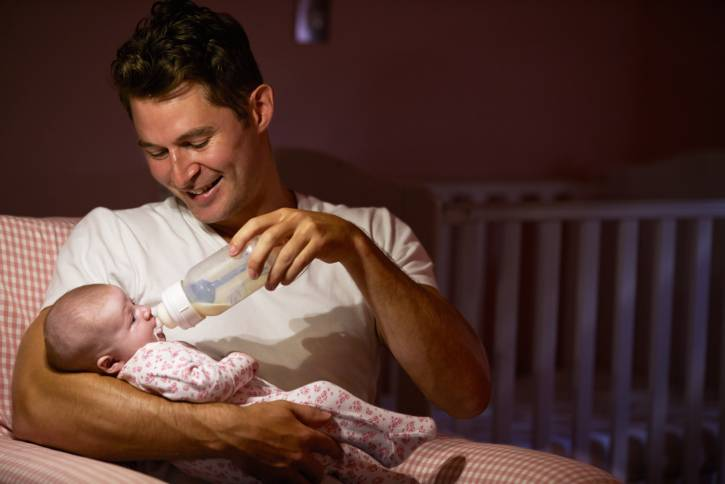 Father Feeding Baby With Bottle In Nursery