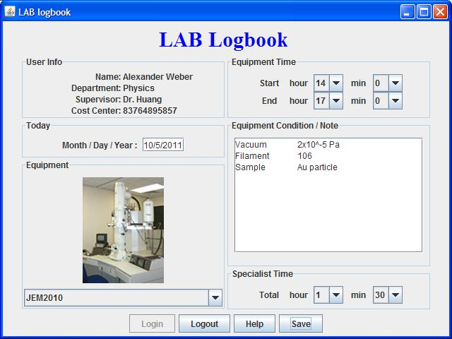 Specification of Logbook2011
