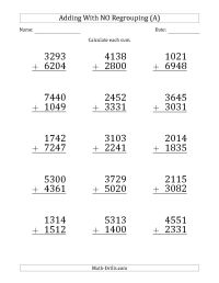 4 Digit Addition Without Regrouping Worksheets