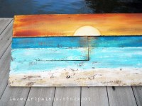 Ocean Sunset Painted Pallet Art and Summer Mantle ...