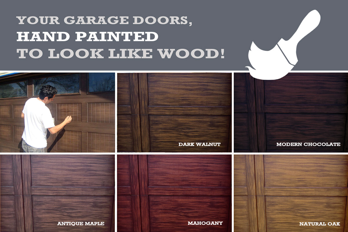 Charmant Instantly Transform The Look Of Your House And Add Major Curb Appeal With  Our Faux Wood Painting For Your Garage Doors!