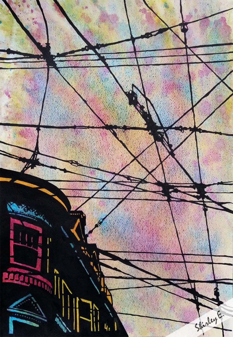 Watercolor and ink painting of streetcar wires