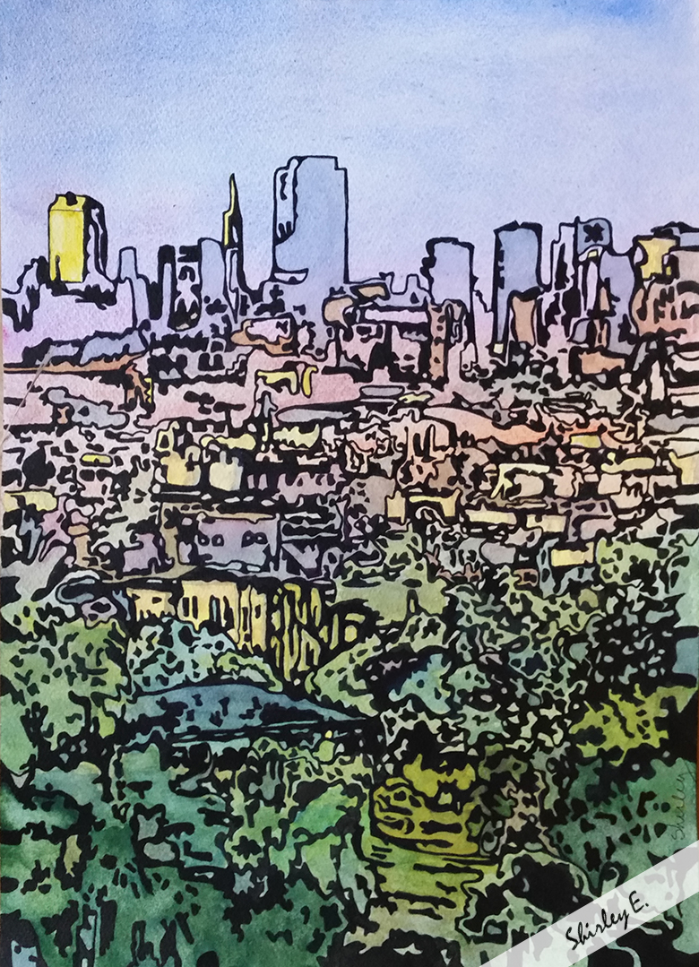 11 x15 inches Watercolor, ink San Francisco Series Gifted to Bruce Van Horn