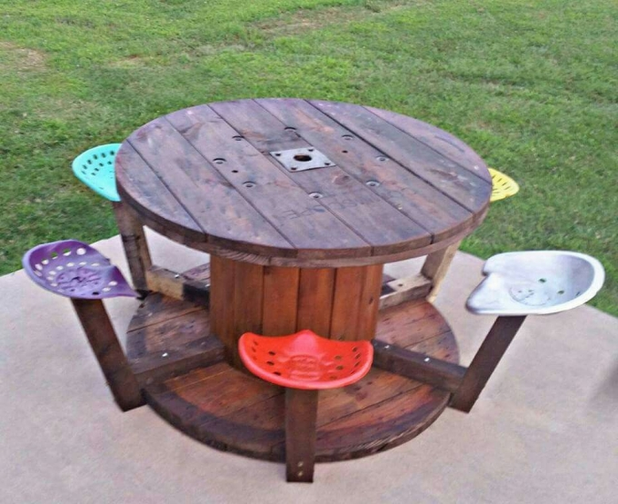 Cable Spool Recycled Upcycle Art