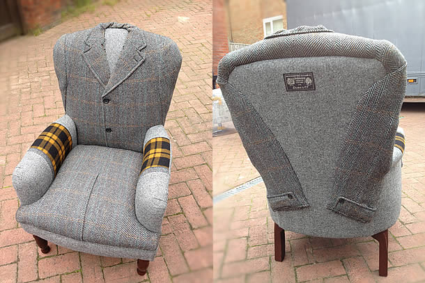 Upcycled vintage chairs wrapped in jackets by rescued retro vintage