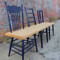Greene Ave. Bench: upcycled chairs by 31 & Change