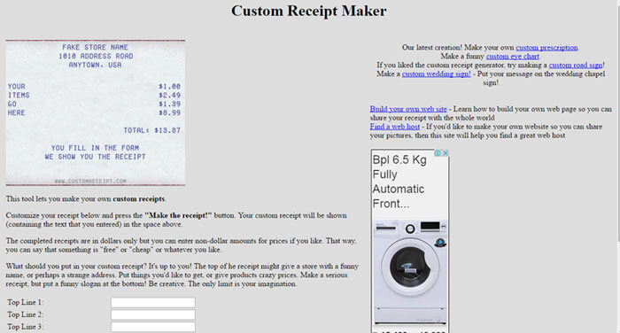 10 Online Free Receipt Maker Tools 2019 Fake  Custom Receipts