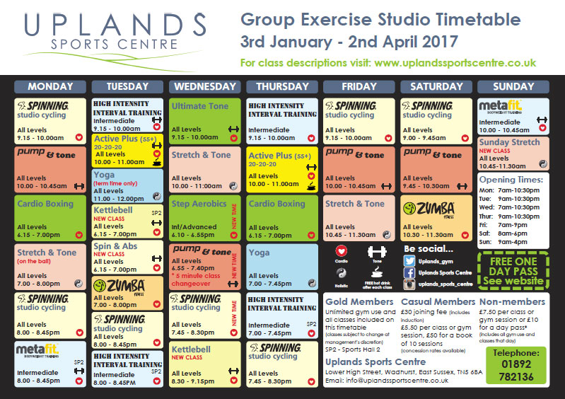 January to Easter 2017 u2013 Studio Class Timetable Uplands Sports - class timetable