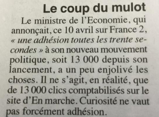 Extrait de l'article du Canard Enchaîné du 12 avril 2016 démasquant le mensonge de Macron.