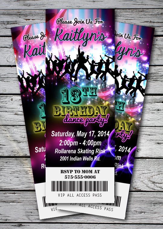 DANCE Disco GLOW NEON Birthday Party Invitation TICKET Stub in the