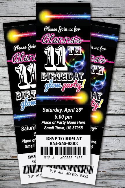 GLOW Birthday Party Invitation TICKET Stub NEON Bracelet Necklace in