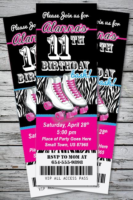 Roller Skating Zebra Print Birthday Party Invitation TICKET Stub