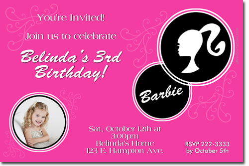 Barbie Birthday Invitations, Candy Wrappers, Thank You Cards, Candy