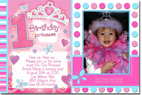 Image from    wwwuprintinvitations designs girl princess - invitation card for ist birthday