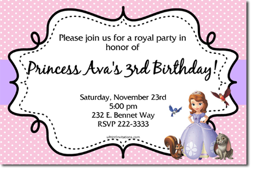 Sofia the First Birthday Invitations, Candy Wrappers, Thank You