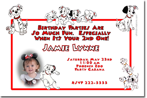 101 Dalmations Birthday Invitations Candy Wrappers Thank