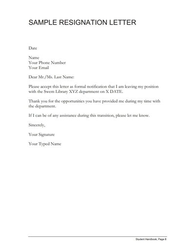 Resignation Letter Free Template