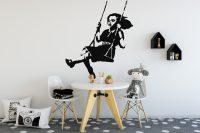 Banksy Girl Swing Wall Sticker | Banksy Girl Stencil Wall ...