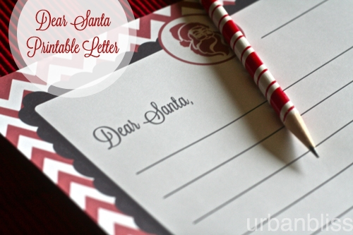 Dear Santa Letter Printable by Urban Bliss