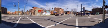 This corner could look very different in a few years if the proposed Liberty Street Road Diet and LibertyElm project (left) move forward.