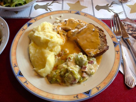 Anne's famous meatloaf and mashed potatoes. Cheese covered brussels ...