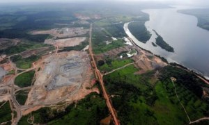 Vue arienne de la premire phase de construction du barrage de Belo Monte, en Amazonie, le 30 mai 2012.