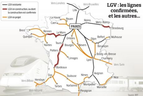 LGV les lignes confirmes et les autres... 460x310 Ltat va renoncer  des projets de ligne TGV
