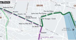 A Lyon, la nouvelle ligne de tramway T5 va de Grange Blanche à Eurexpo.