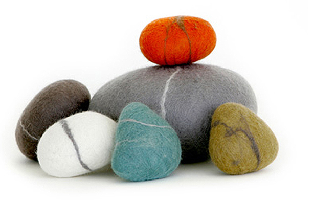 A stone 39 s throw from the garden urban gardens for Felted wool boulders