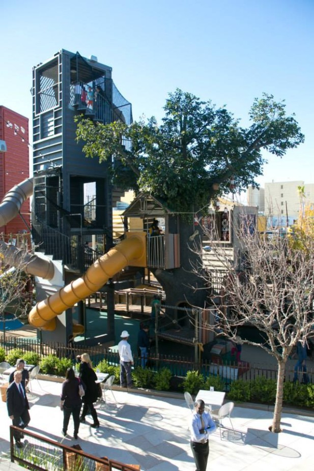 repurposed shipping containers create playground at ...