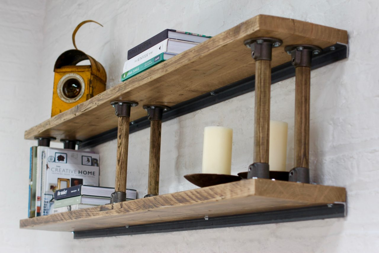 Letty Reclaimed Scaffolding Shelves With Reclaimed Vintage