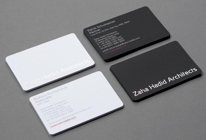 Zaha Hadid Architects Minimalist Business Cards IDENTITY DESIGN - submit resume