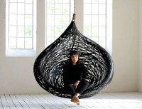 MANU Nest Hanging Chair Design made from Black Volcanic ...
