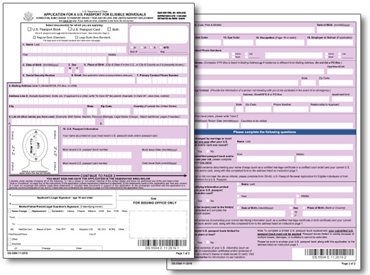 US Passport Applications Information - lost passport form
