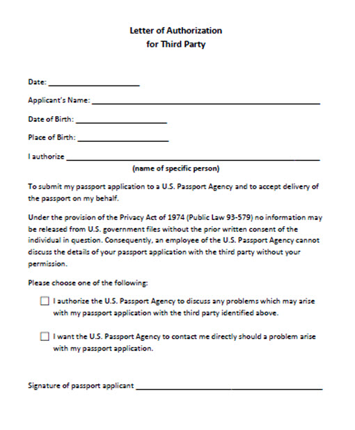 Third Party Passport Service for Hand Carry Applications - Letter Of Authorization Form