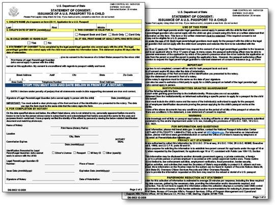 US Passport Applications Information - passport consent forms