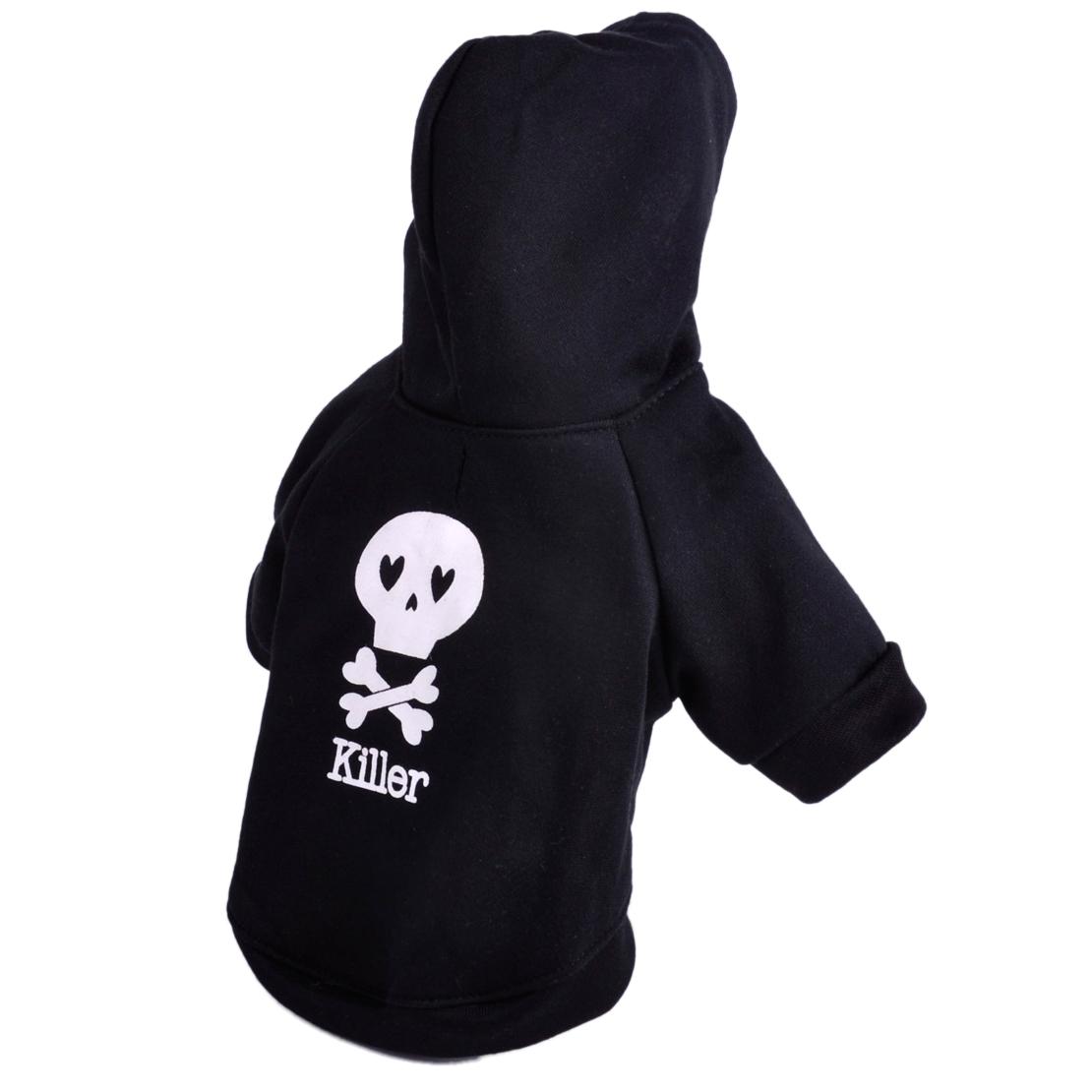 Black Skull Pet Dog Hoodie Clothing Coat Small Puppy Cat