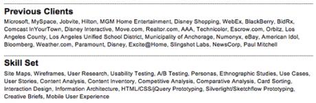 job resume skills