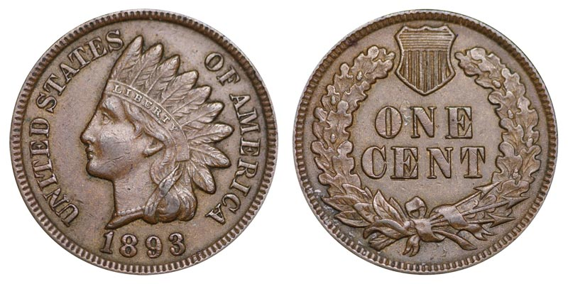1893 Indian Head Cent Bronze Composite Penny Value And Prices