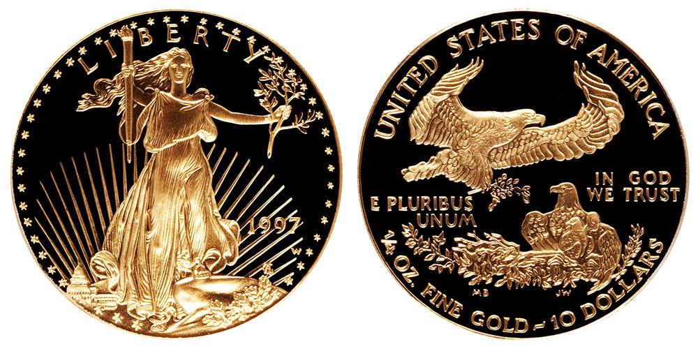 1997 W American Gold Eagle Bullion Coins Proof 10 Quarter