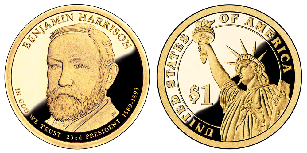 2012 S Presidential Dollars Benjamin Harrison Golden