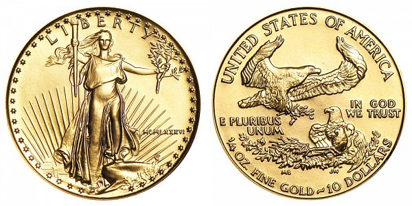 1986 P American Gold Eagle Bullion Coins Mcmlxxxvi 10 Quarter Ounce Gold Value And Prices