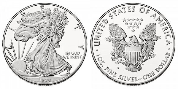 1988 S American Silver Eagle Bullion Coins Proof One Troy
