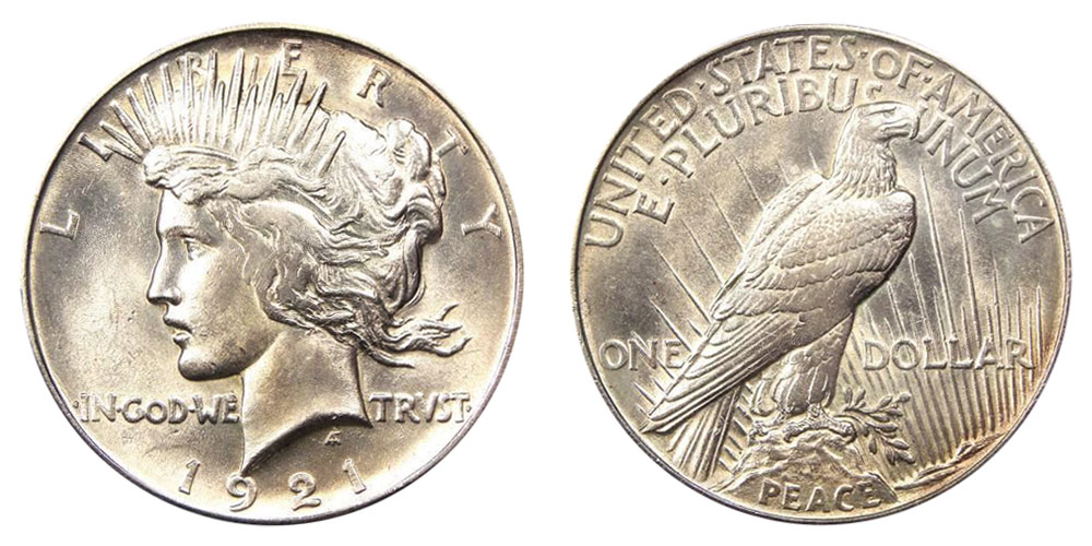 1921 Peace Silver Dollars High Relief Value and Prices