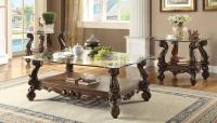 3 Piece Acme Versailles Glass Top Coffee Table Set Cherry ...