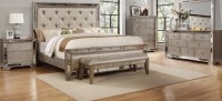 Celine Antique Silver Mirror Panel Bed  USA Furniture Online