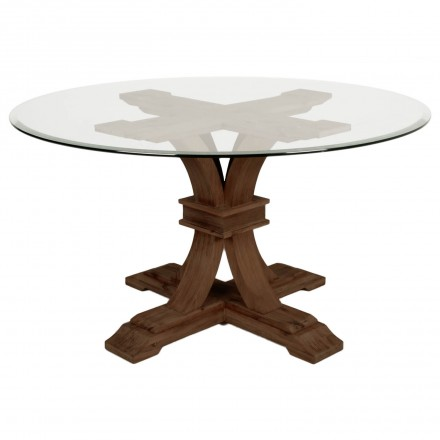 Devon Round Glass Top Dining Table Rustic Java Finish USA Furniture Online