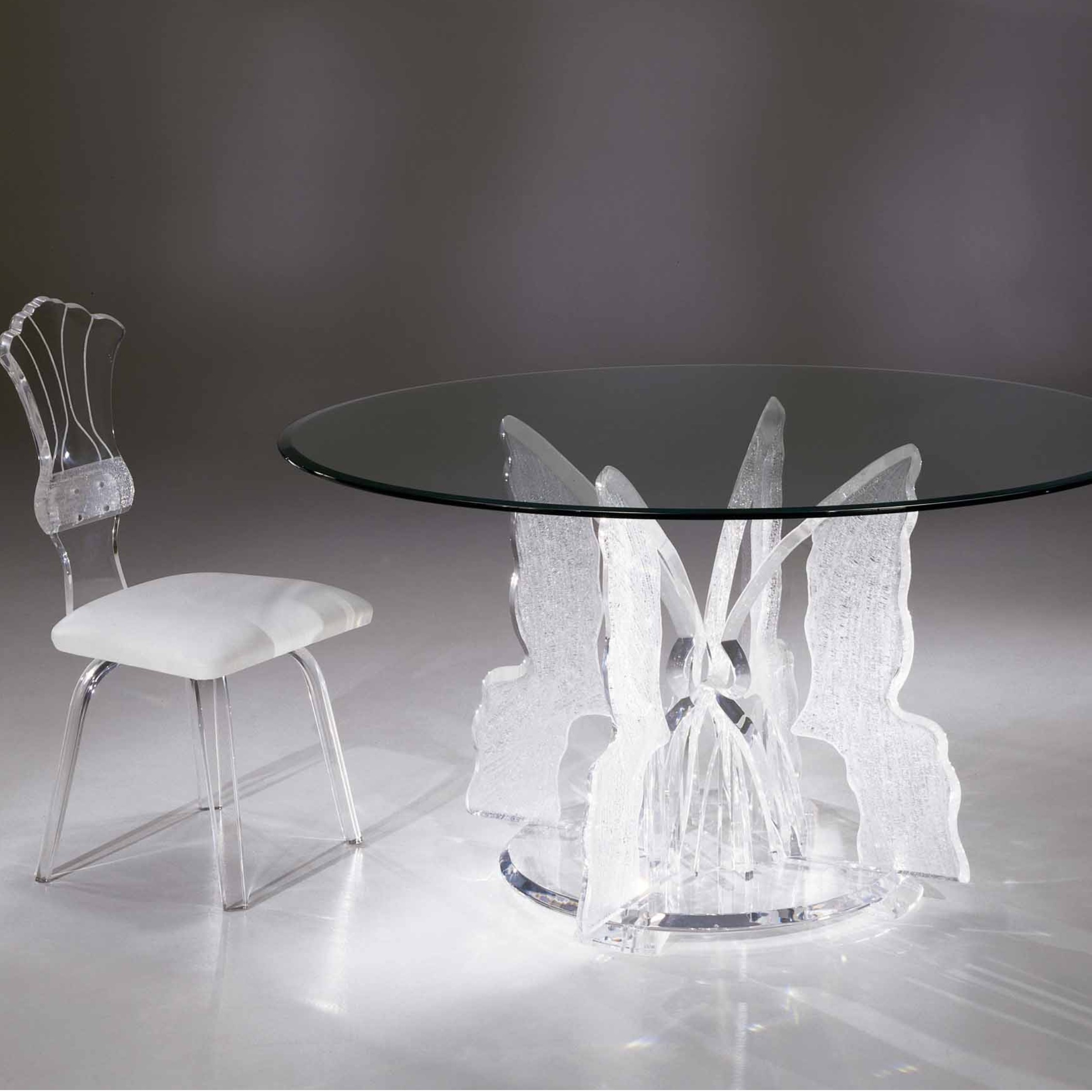 Clear Acrylic Butterfly Ii Round Dining Table With Glass